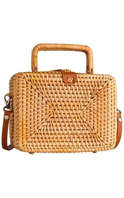 Retro Straw Bag Boho Rectangular Rattan Bag