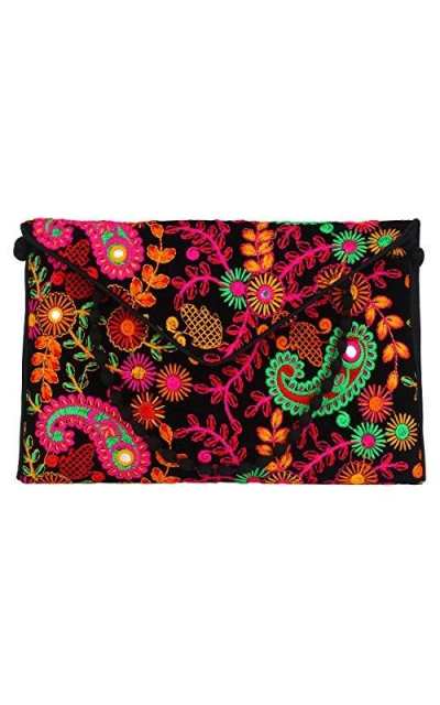 Brazeal Studio Embroidered Fabric Clutch