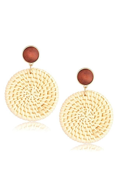 Seni Jewelry Rattan Straw Dangle Earrings