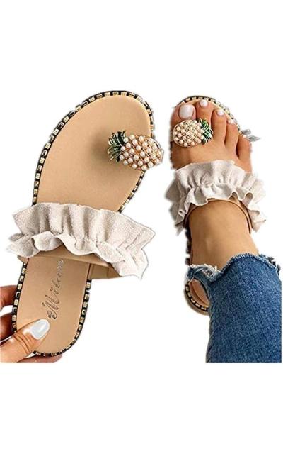 Challyhope Sweet Cute Pineapple Pearls Sandals