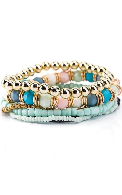 Trendy Jewels Boutique Stacked Blue Beads Bracelet