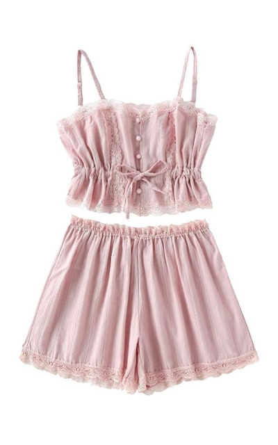 SheIn  Lace Cami and Shorts Pajamas Set