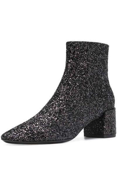 XYD Glitter Low Block Heel Ankle Boots