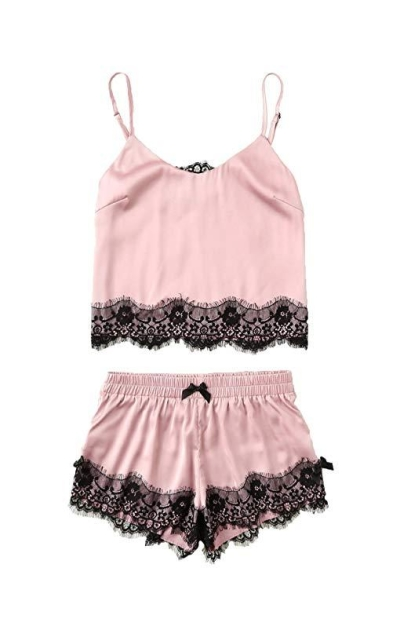 MAKEMECHIC Lace Satin Sleepwear Pajama Set