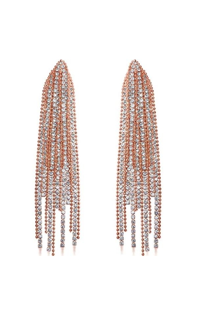 Humble Chic Darling Waterfall Tassel CZ Statement Chandelier Studs