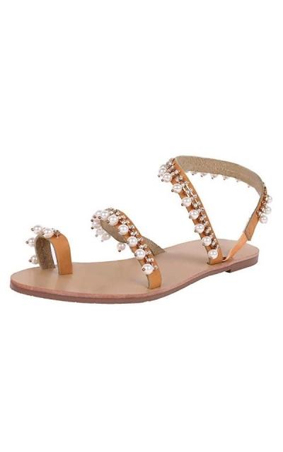 Liyuandian Rhinestone Pearl Sandals