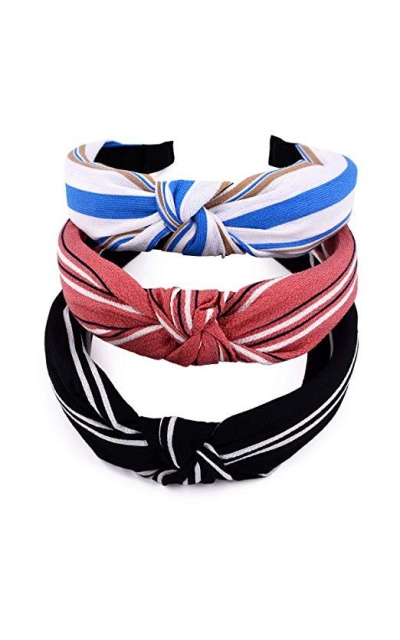 STHUAHE 3PCS Handmade Wide Stripes Headband