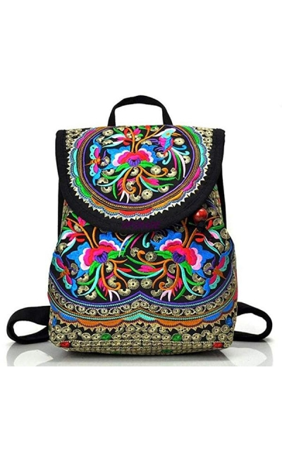 Goodhan Vintage Women Embroidery Ethnic Backpack