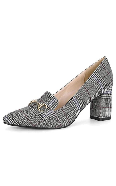 Allegra K Block Heel Plaid Pumps
