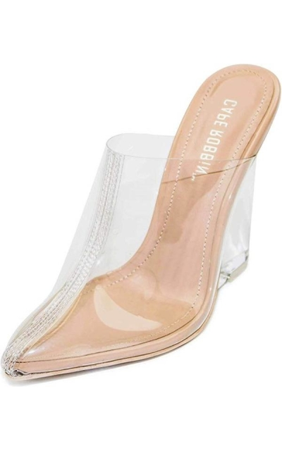 Cape Robbin Sugar Transparent Lucite Clear Wedge Heels