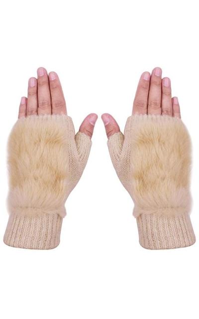 SUNNYTREE Fingerless Gloves with Rabbit Fur