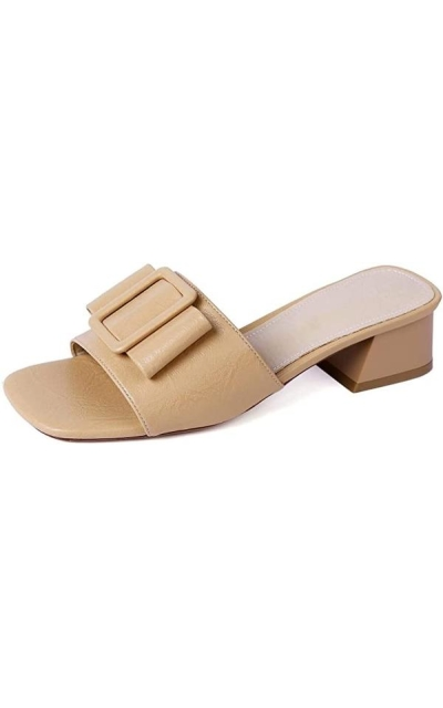 MaxMuxun Slip On Square Toe Sandals