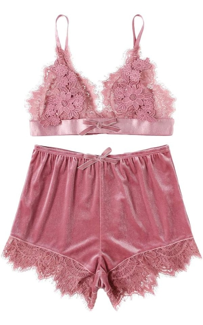 DIDK  Applique Detail Lace Bralette and Velvet Shorts Pajama Set