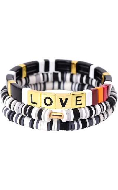 ZSMJYJ Tile Stackable Rainbow Colorblock Bead Bracelets