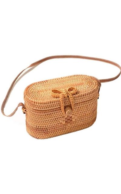 Via Moi Round Rattan Wicker Straw Woven Shoulder Bag