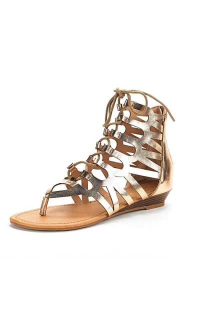 DREAM PAIRS Open Toe Ankle Strap Gladiator Flat Sandals