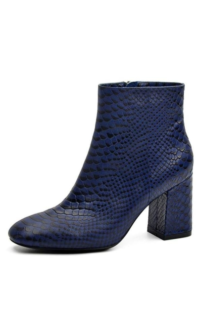 DONNAIN Chunky Square Toe Ankle Bootie