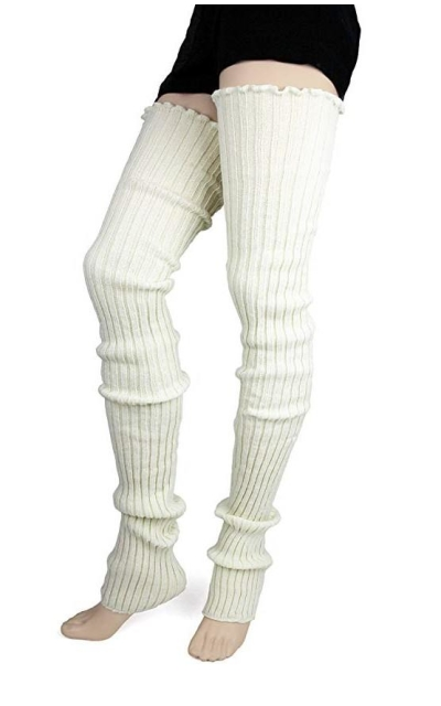 Foot Traffic Super Long Cable Knit Leg Warmers in Ivory