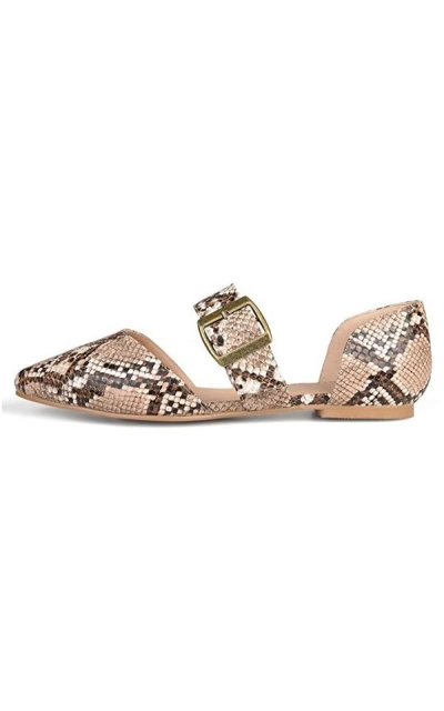 Brinley Co. Womens Pointed Toe Buckle Flat