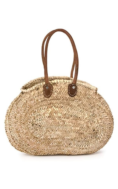 Moroccan Straw Oval Tote Bag w/ Leather Handles