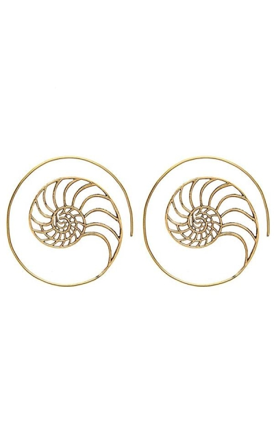 81stgeneration Spiral Shell Flat Earrings