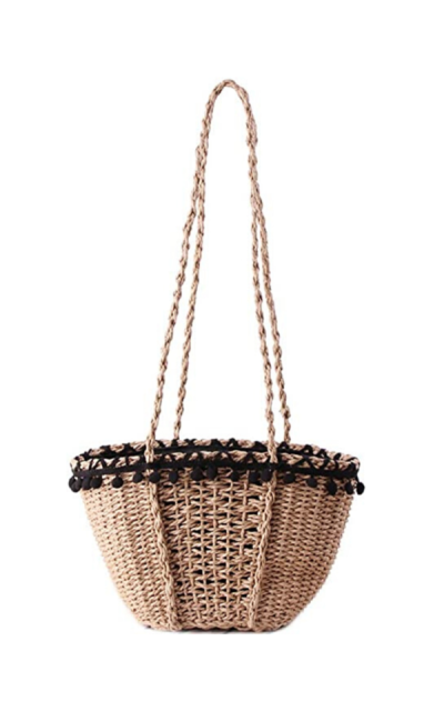 HIKEL Pom Pom Woven Bag Straw Shoulder Bag