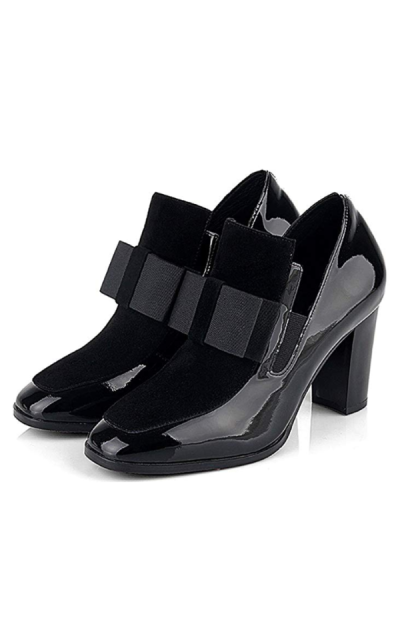 Square Toe Heeled Loafers with Bows