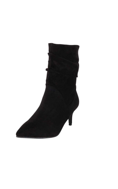 Cambridge Select Pointed Toe Ruched Slouch Low Kitten Heel Ankle Boot