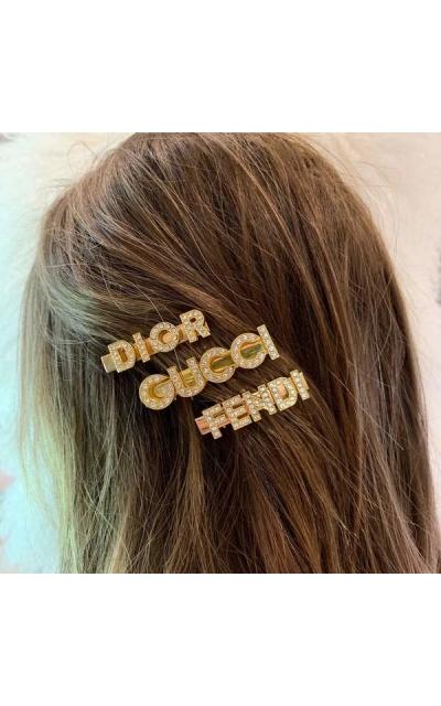 Gold or Silver set of 3 Designer inspired clip set- GUCCI FENDI DIOR