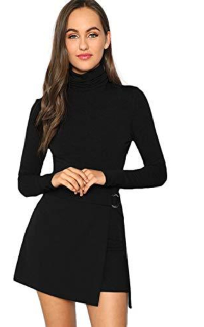 Verdusa High Neck Long Sleeve Knit Bodysuit