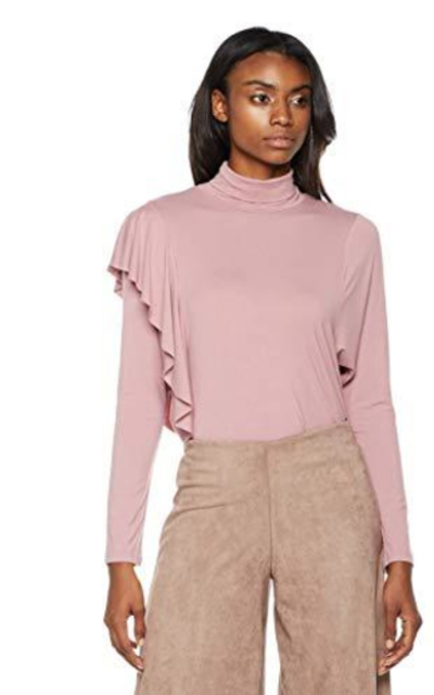 Painted Heart Turtleneck Ruffle Top