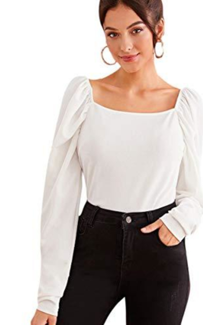 ROMWE  Square Neck Puff Blouse Top