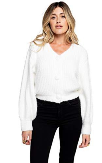 Cropped Fluffy Cardigan Sweater (Ivory, XS)