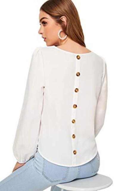 Romwe Button Back Solid Top