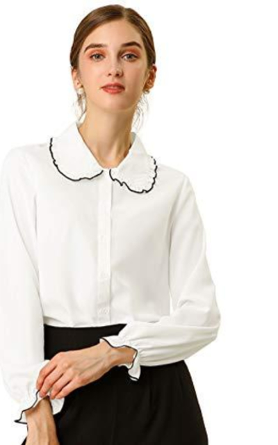 Allegra K Sweet Ruffle Peter Pan Collar Button Up Shirt