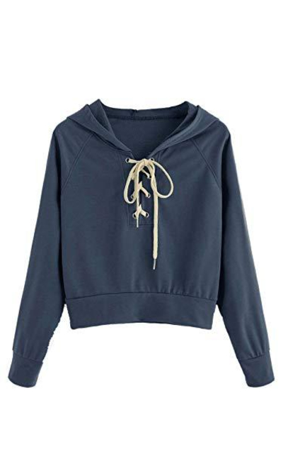 Verdusa Lace up Hoodie