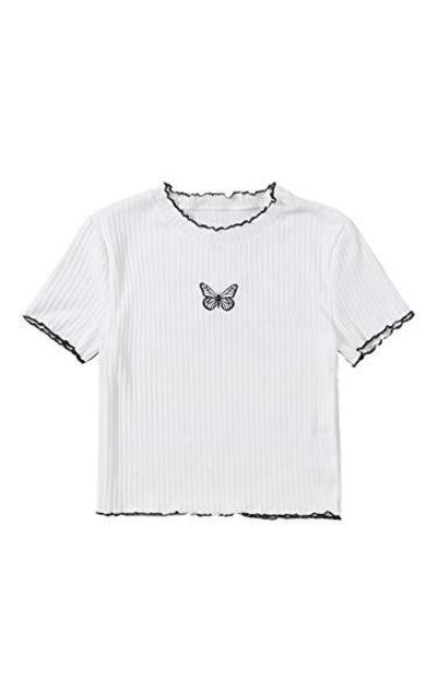 SweatyRocks Butterfly Print Ribbed Knit Crop Top