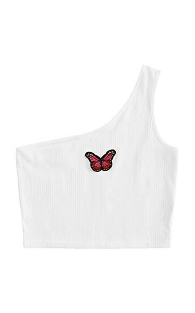 SweatyRocks One Shoulder Butterfly Ribbed Crop Top
