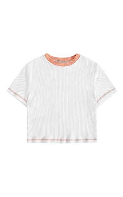 SweatyRocks Basic Crew Neck Ribbed T Shirt