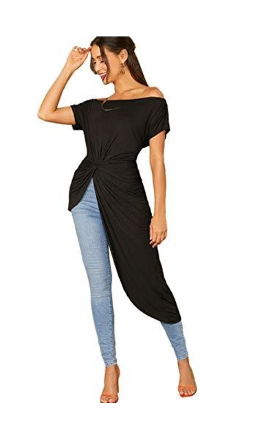 SheIn Asymmetrical Twist Front Off Shoulder Top