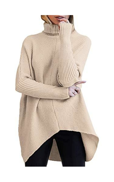 ANRABESS Turtleneck Ribbed Knit Pullover Sweater