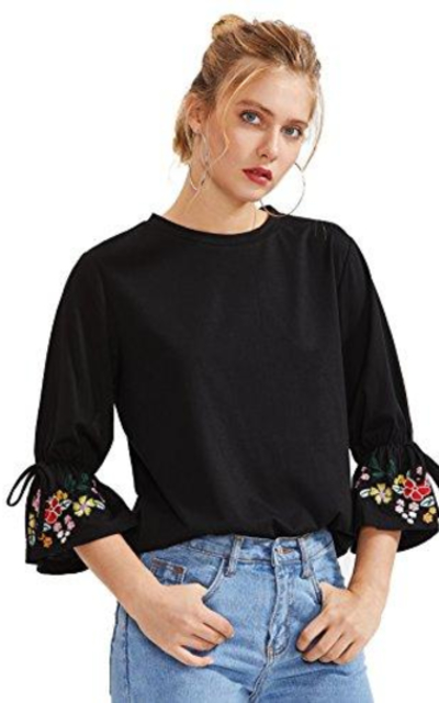 Floerns Embroidered Bell Sleeve T Shirt