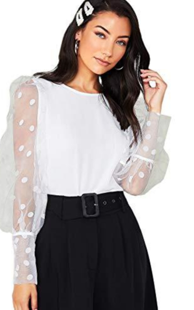 MAKEMECHIC Polka Dot Contrast Mesh Lantern Sleeve Sheer Top