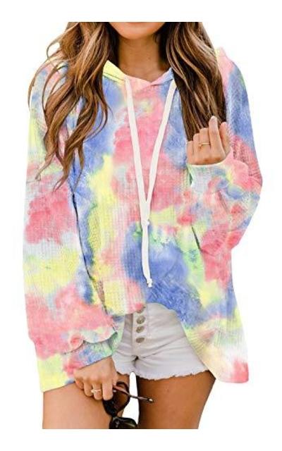 REVETRO Waffle Knit Tie Dye Hooded Sweatshirt