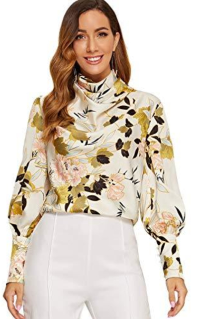 SheIn  Floral Chiffon High Neck Blouse