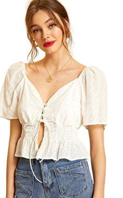 SheIn Eyelet Embroidery Ruffle Crop Top