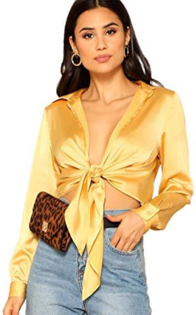 SheIn Long Sleeve Self Tie Knot Front Satin Crop Top