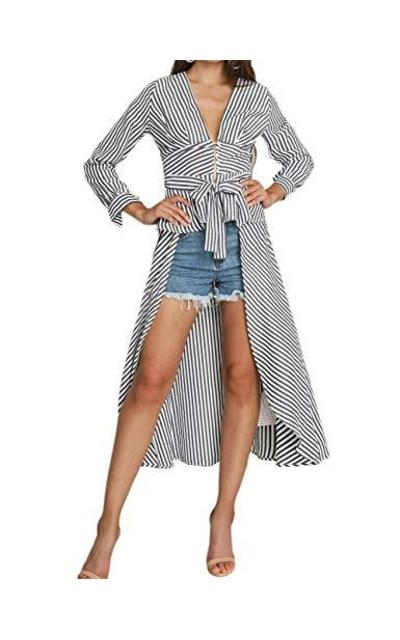Ninimour V-Neck Striped Tie Up Shirt