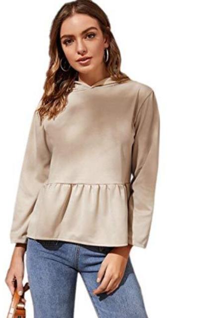 ROMWE Ruffle Hem Hooded Sweatshirt