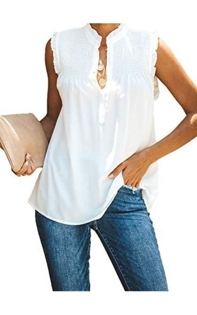ZKESS Ruched Button Down Tank Top